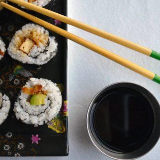 Avocado and tofu sushi