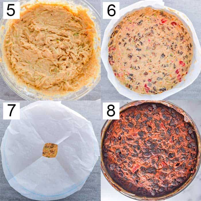 Four photos showing cake mix, then with dried fruits added in, covered with baking paper, and the finished product