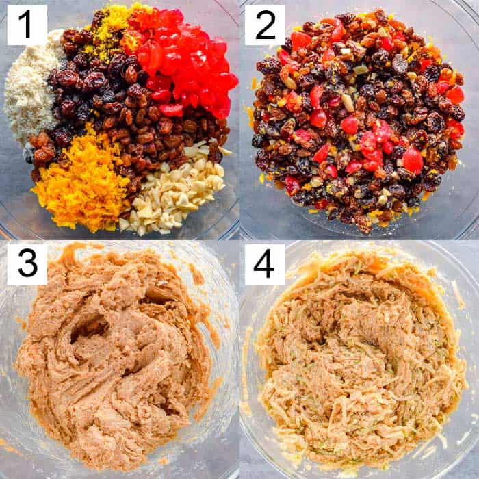 Four photos showing Christmas cake fruit mix macerating, then mixed with flour and grated apple