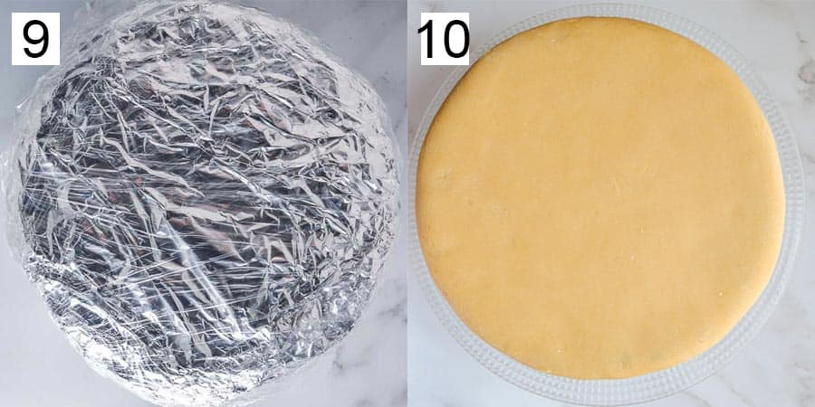 A cake wrapped with aluminum foil and cling film, and then covered with marzipan