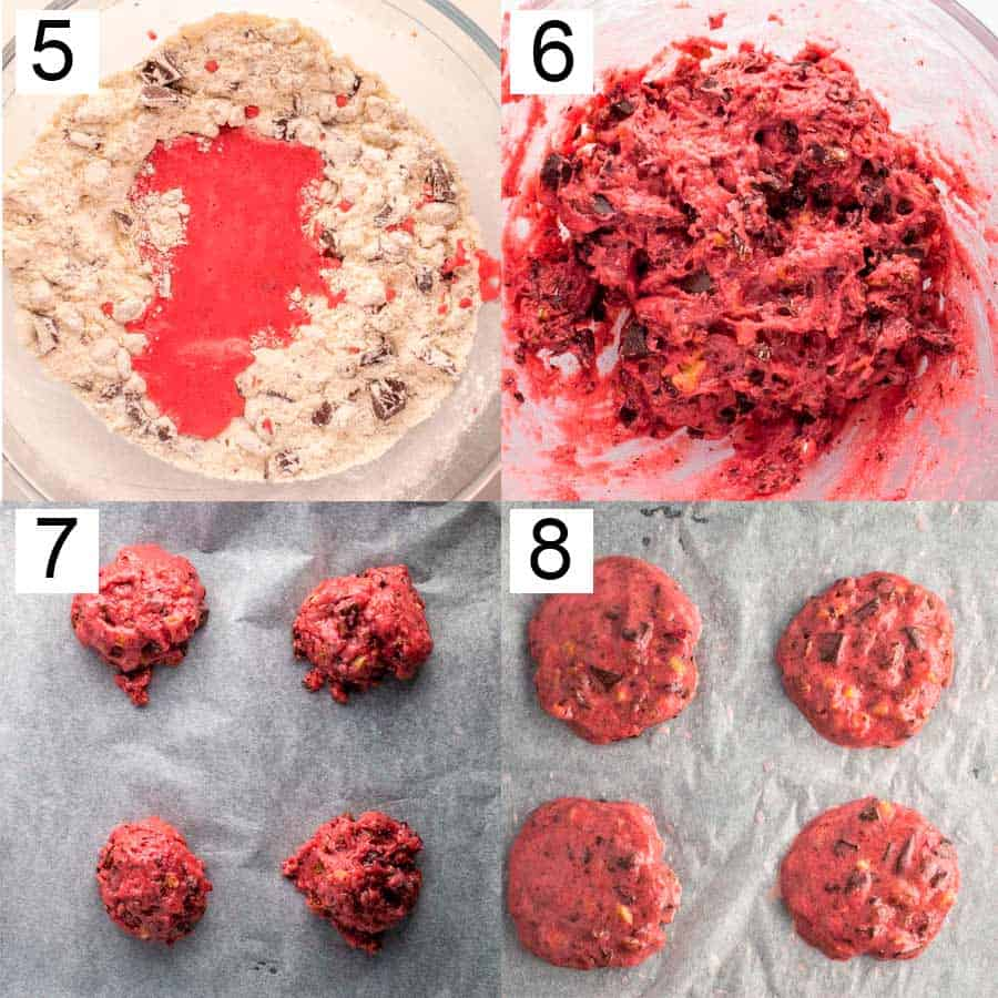 steps five to eight of making cookies, showing a punk puree being mixed into flour then cookies dolloped on baking paper and shaped to be baked