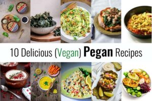 A collage of ten plant-based recipes
