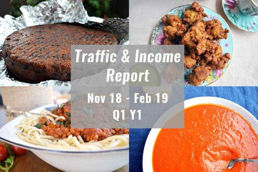 four recipes (soda bread, bolognese, christmas cake and cauliflower pakora) with a grey box and traffic income report first quarter first year in white.