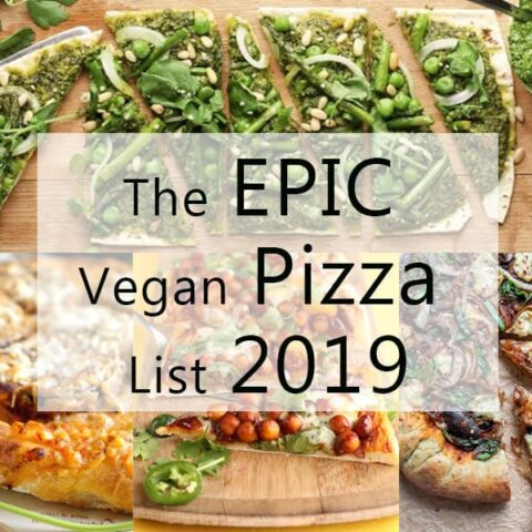 collage of four different pizzas with writing saying the epic vegan pizza list