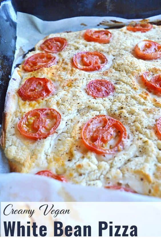 Pin for easy vegan white bean pizza