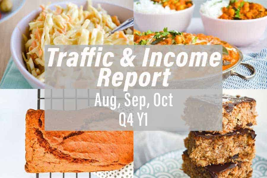 A collage of four photos ( an orange bread, coleslaw, orange curry and flapjacks) with a white text overlay f traffic and income report Aug Sep Oct Q4 Y1