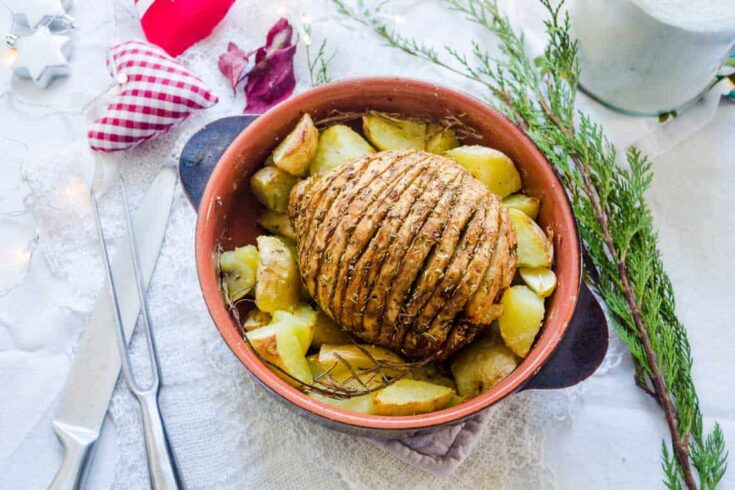 Vegan Holiday roast – cheap, succulent and festive!
