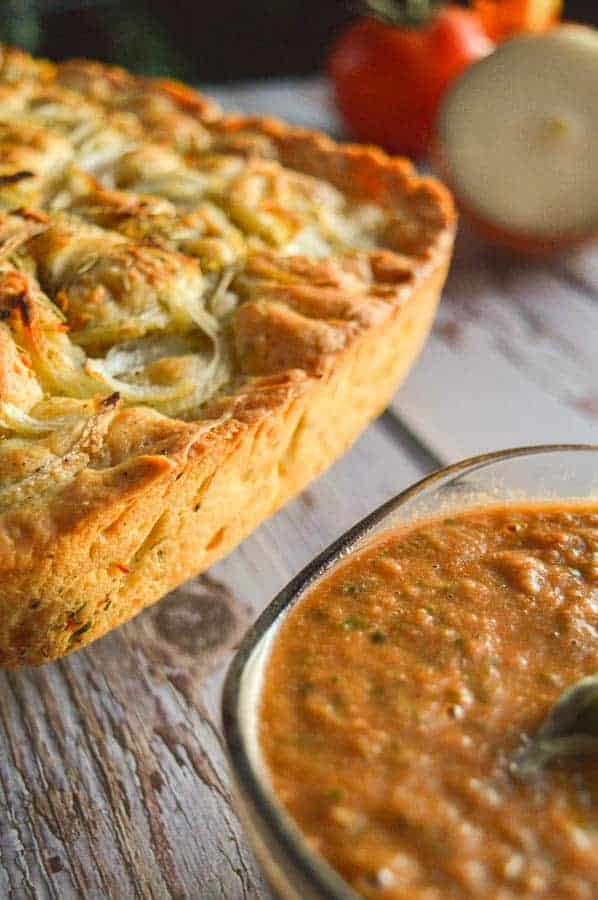 Easy Herbed Garlic Focaccia with Bruschetta Dip