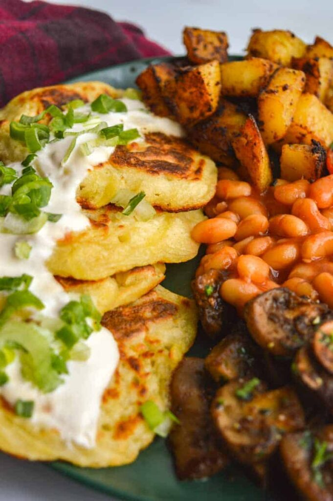 Boxty and mushrooms and beans and potatoes