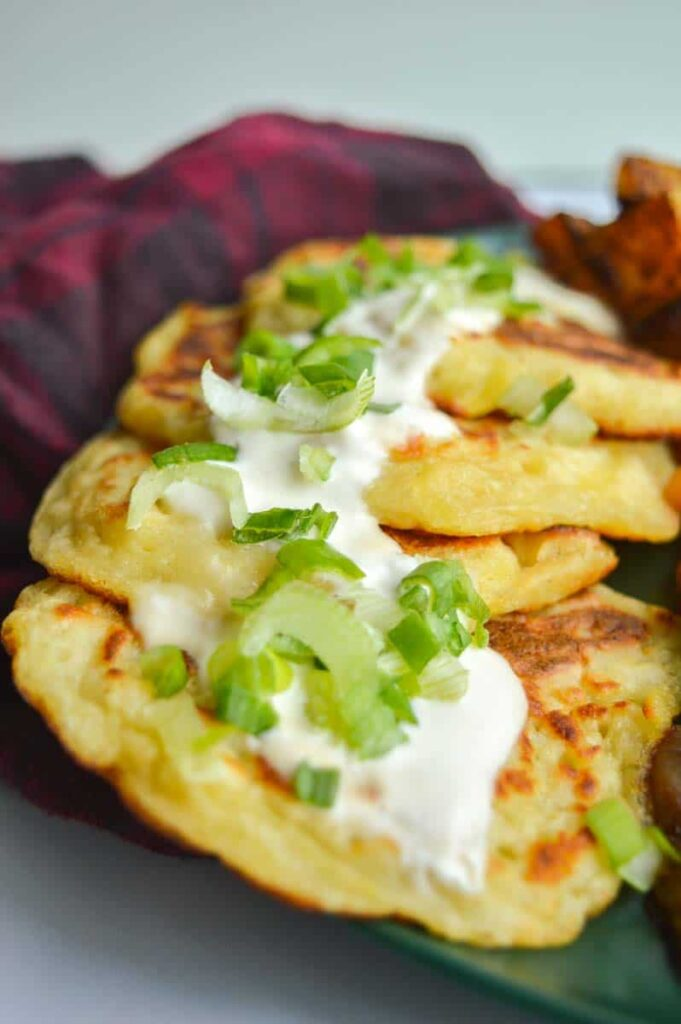 Boxty with vegan sour cream and scallions