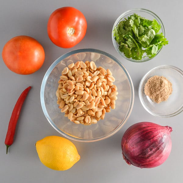 two tomatoes, a red chili pepper, a lemon, a red onion, fresh coriander and peanuts