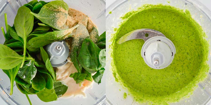 split view of white creamy substance spinach and basil in a blender and then green sauce