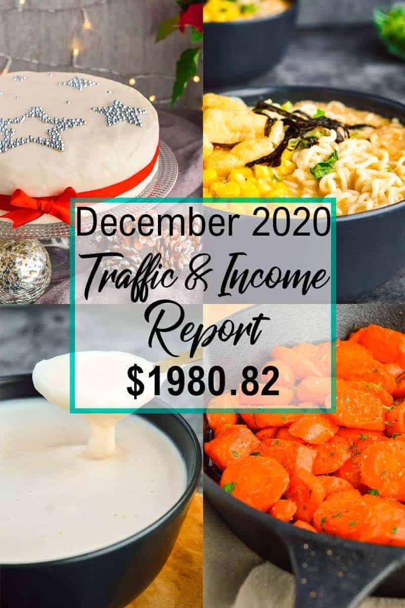 collage of four christmas dishes with text overlay saying December 2020 traffic and income report 1980.82 dollars